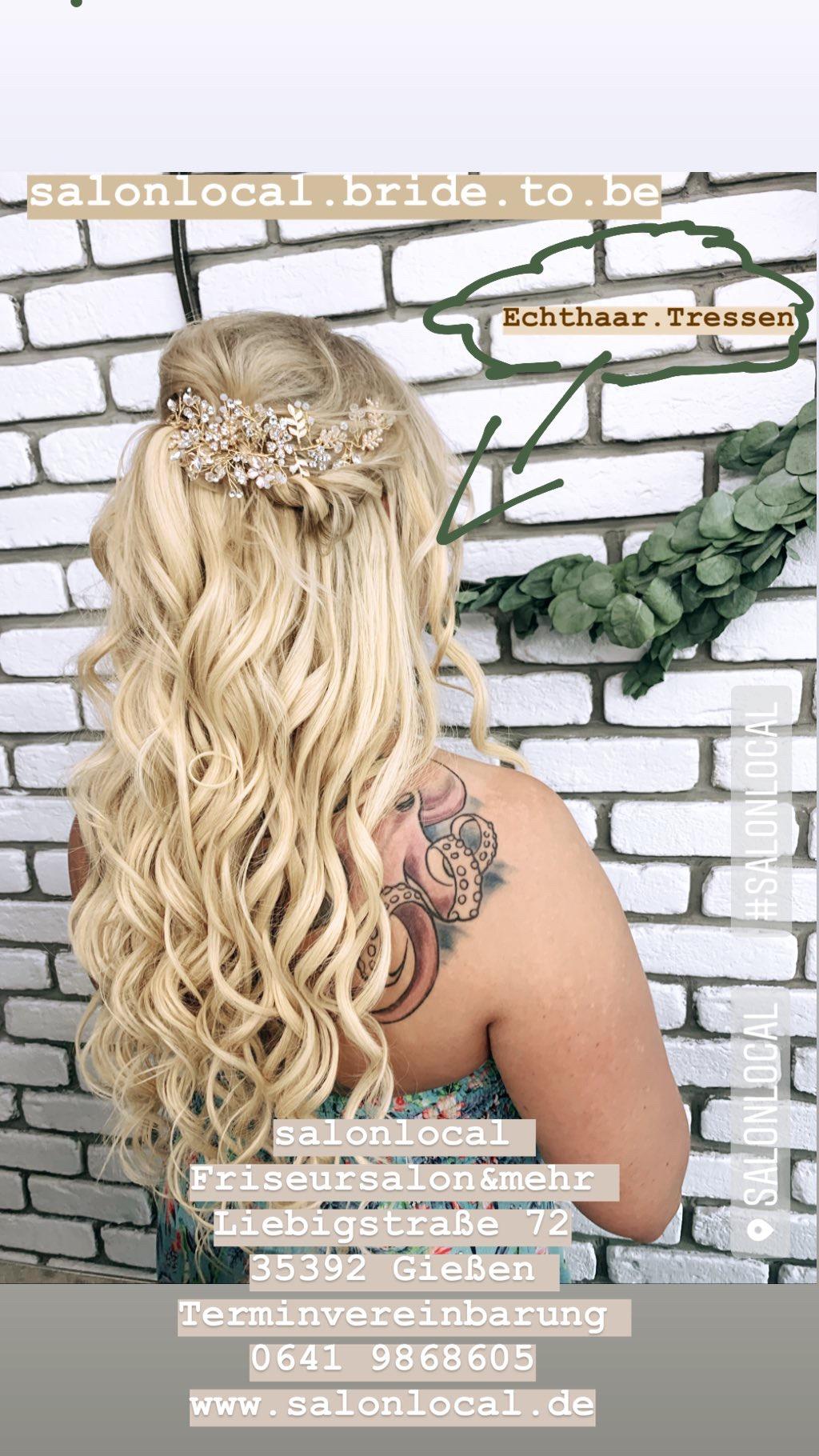 salonlocal bride to be mit Echthaartressen verlängert ist die Alternative Damen mit kurzen Haare an ihrem besonderen Tag eine volle und wunderschöne Haarbracht zu verleihe, da an einem soll besonderen Tag alles möglich ist
